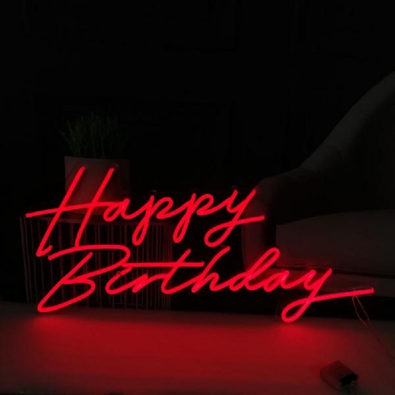 Happy Birthday Neon Light Sign Neon Wall Art Letter Logo Design Home Bar LED Light Personalized Signs Wall Hanging enlarge