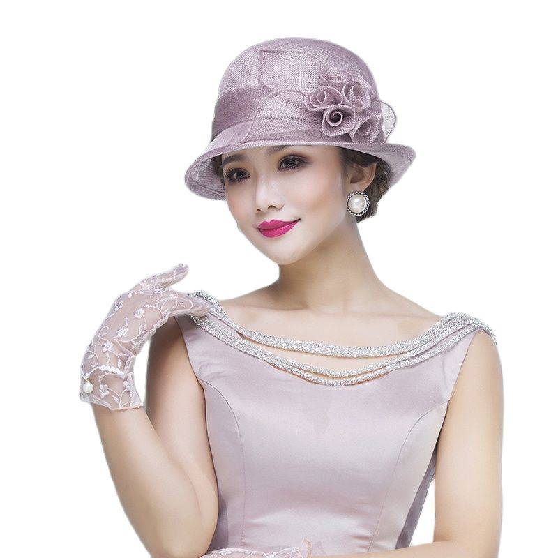 UK Lady 100% Philippine  Hat Women Church Fascinators Wedding Dress Kentucky Derby Headpiece Elegant Party Fedora Hats