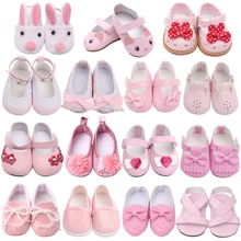 18 Inch American Doll Girls Shoes Pink Princess Dress Shoes Newborn Baby Toys Accessories Fit 40-43