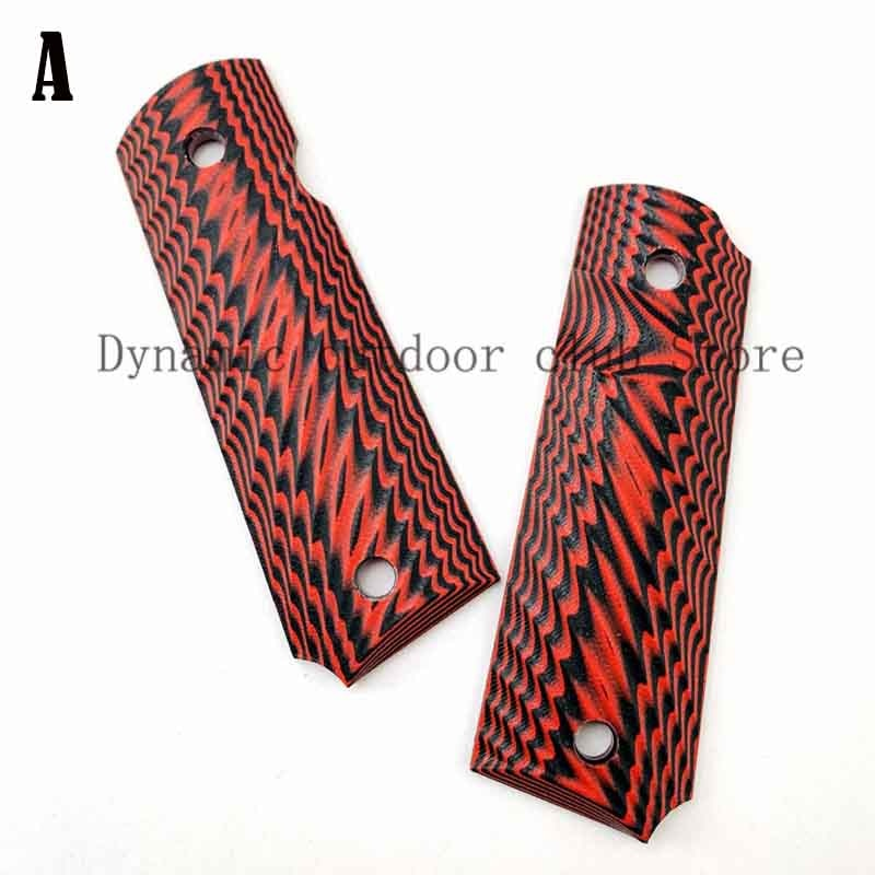 Totrait 2Pieces Tactics Pistol 1911 Grips Red G10 Grips Custom Grips CNC Material 1911 Accessories