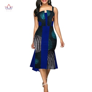 Летние африканские платья для женщин Дашики на бретельках африканская одежда базин богатый восковой принт одежда для женщин WY3117