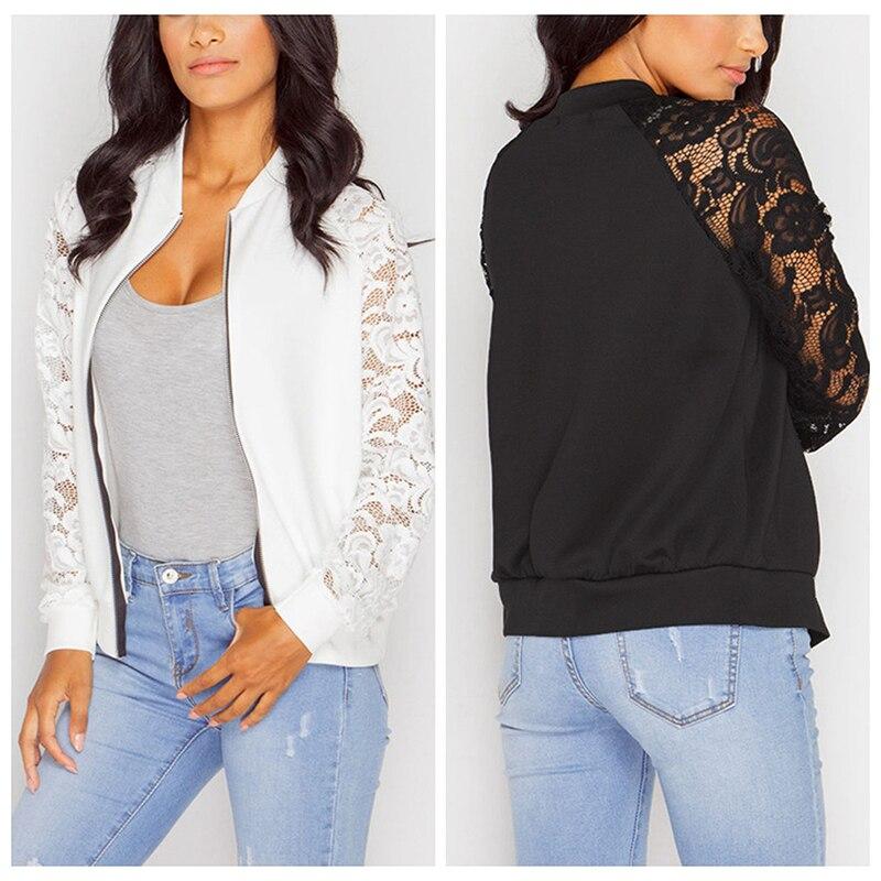 Patchwork Bomber Jacket Women Lace Zipper Up Retro Coat Autumn 2019 Spring Long Sleeve Basic Plus Si