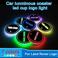 2pcs led car cup holder coaster for land rover logo light for defender freelander 1 2 discovery sport 4 x9 flip 3 accessories