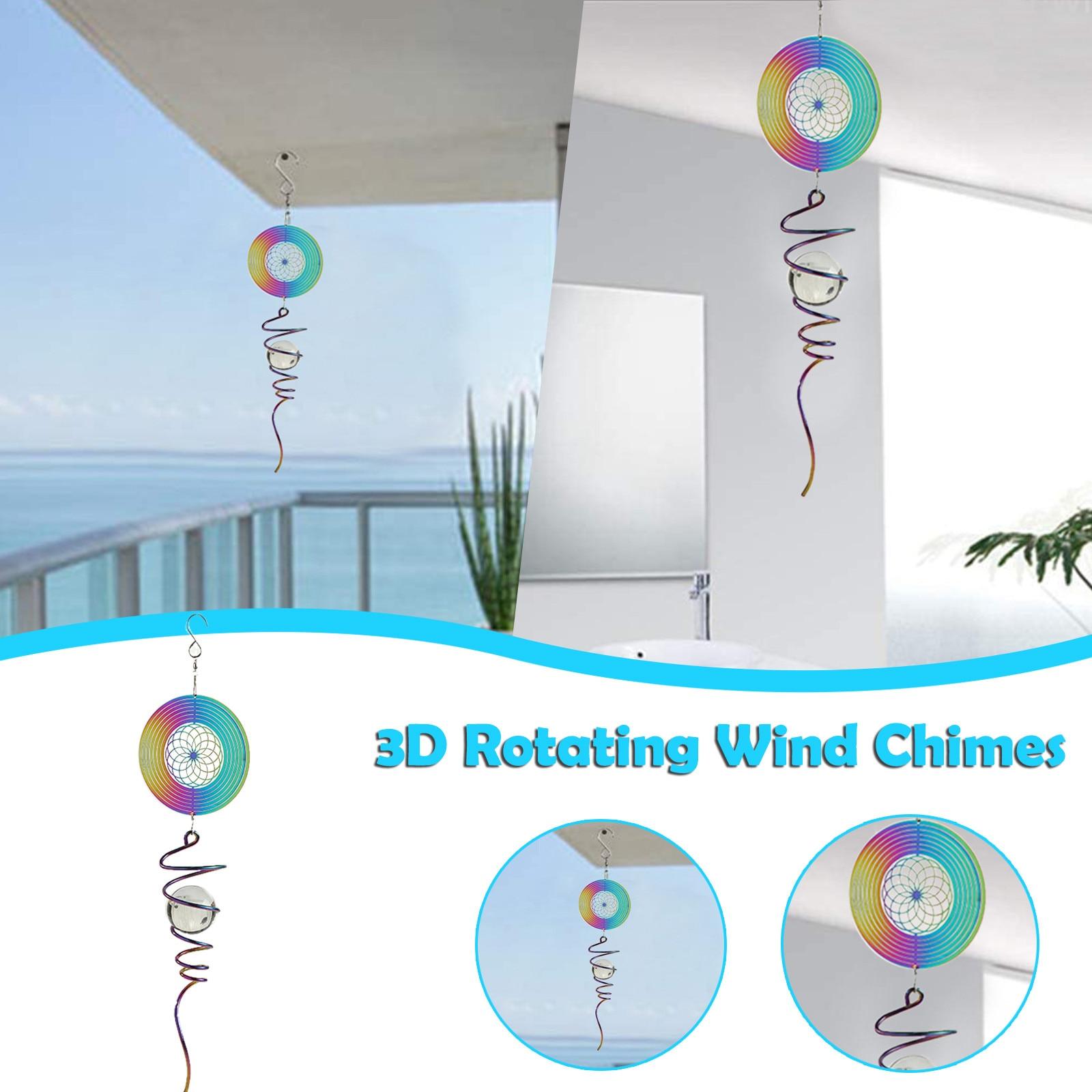 Campana de viento giratoria 3D de cristal colgante, decoración para el hogar,...