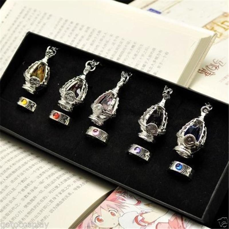 Комплект для косплея Puella Magi Madoka Magica Soul, ожерелье с 5 подвесками + 5 колец в коробке, подарок для детей, коллекционный костюм для косплея