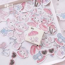 Pegatinas de dibujos animados de animales, calcomanías decorativas DIY para diario escolar, cuaderno, papelería, 45 unids/caja