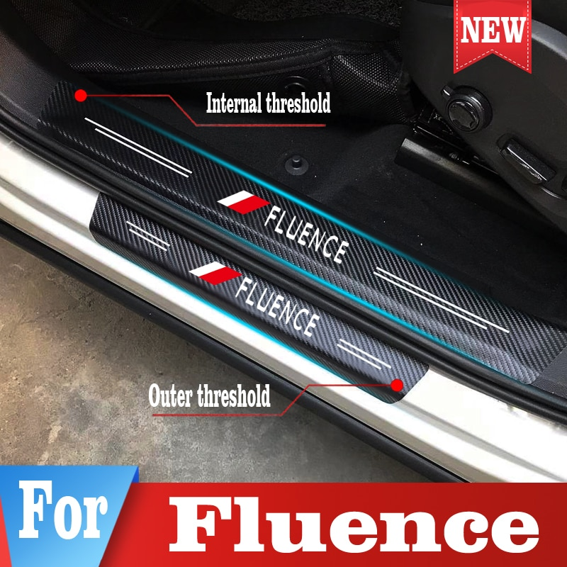 Car Door Sill Plate Stickers For Renault Fluence Auto Trunk Threshold Protector Decals Tuning Styling Accessories