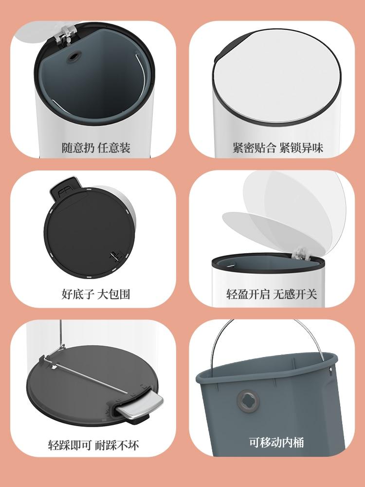 Large Deodorant Trash Can Recycle Bathroom Storage Cute Metal Trash Can Modern Simple Cubo De Basura Kitchen Accessories EI50LJ enlarge
