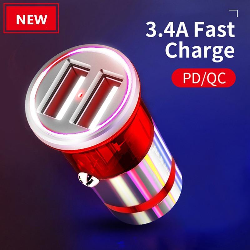 Автомобильное зарядное устройство с быстрой зарядкой, металлическое зарядное устройство, автомобильное мини-зарядное устройство с двумя п...