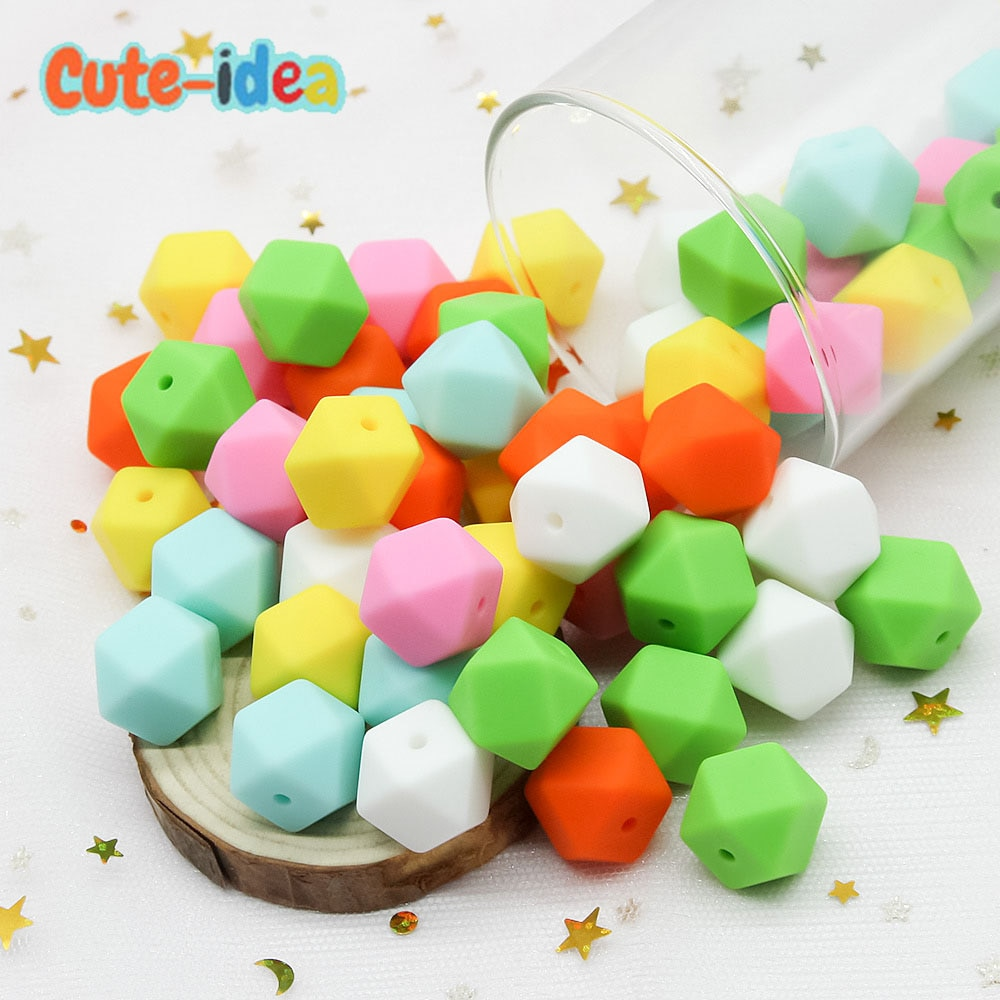 Cute-idea 500 pieces 14mm Hexagon Silicone Beads Teething Baby Teether DIY Toy Baby teething toys Necklace Pacifier Chain