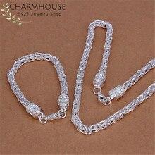 Argent 925 parure de bijoux pour Homme Dragon chaîne Collier Bracelets 2 pièces indien bijoux ensembles Homme Collier Pulseira Homme cadeaux
