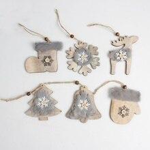 Warm Christmas Tree Pendant Cute Stars Bells Hat Stocking Wooden Wool Diamond  Christmas Hanging Decoration