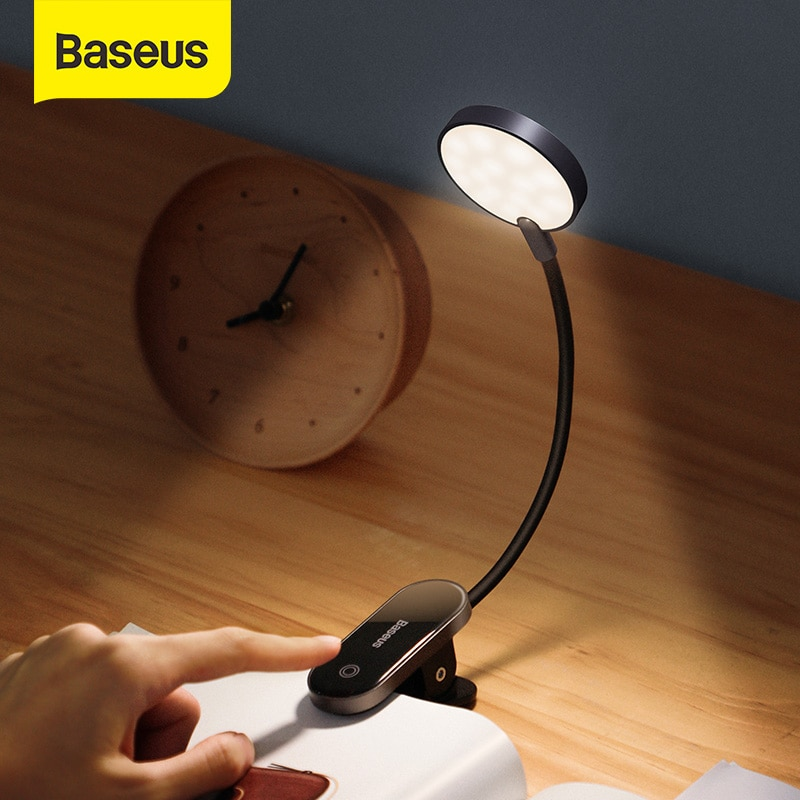 Baseus LED Clip Table Lamp Stepless Dimmable Wireless Desk Lamp Touch USB Rechargeable Reading Light