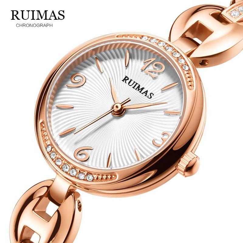 RUIMAS reloj de pulsera de acero inoxidable para mujer, relojes de pulsera a prueba de agua para mujer, Simple reloj de chica rosa, reloj femenino 596