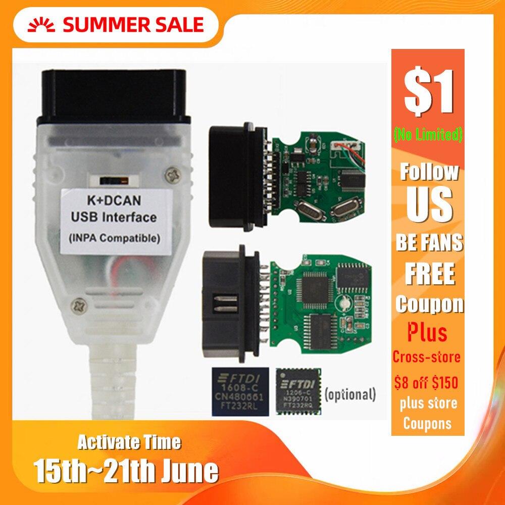 Лучшее качество полный чип для BMW INPA K DCAN K + CAN FT232RL FT232RQ USB диагностический интерфейс совместим с INPA для BMW Series