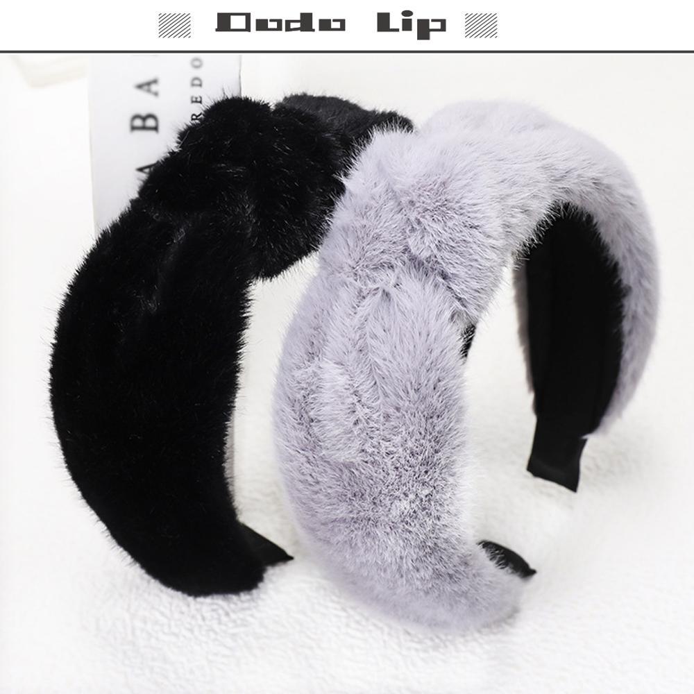 INS 2020 otoño moda pelo de conejo anudado accesorios para el cabello color sólido diadema estilo coreano adornos suaves para el cabello