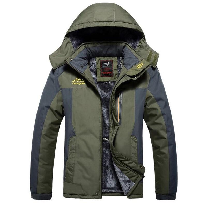 Зимняя мужская куртка, толстая ветрозащитная Водонепроницаемая флисовая куртка, Мужская верхняя одежда в стиле милитари, парка большого ра...