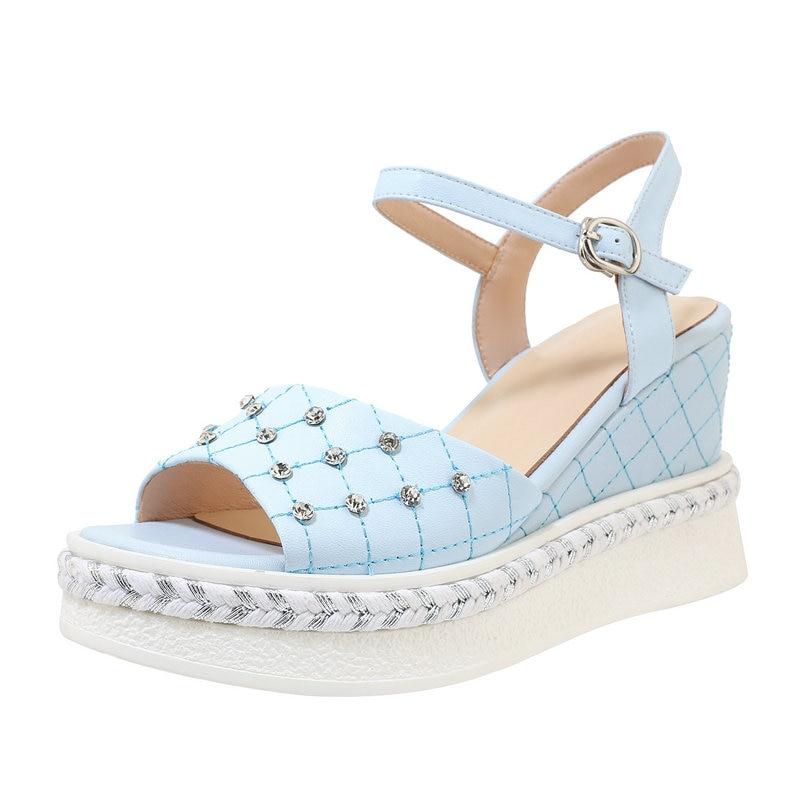 Sweet High wedges Heels Platforms Women Sandals Genuine Leather High Heels Pumps Summer New Wedding Prom Shoes Woman