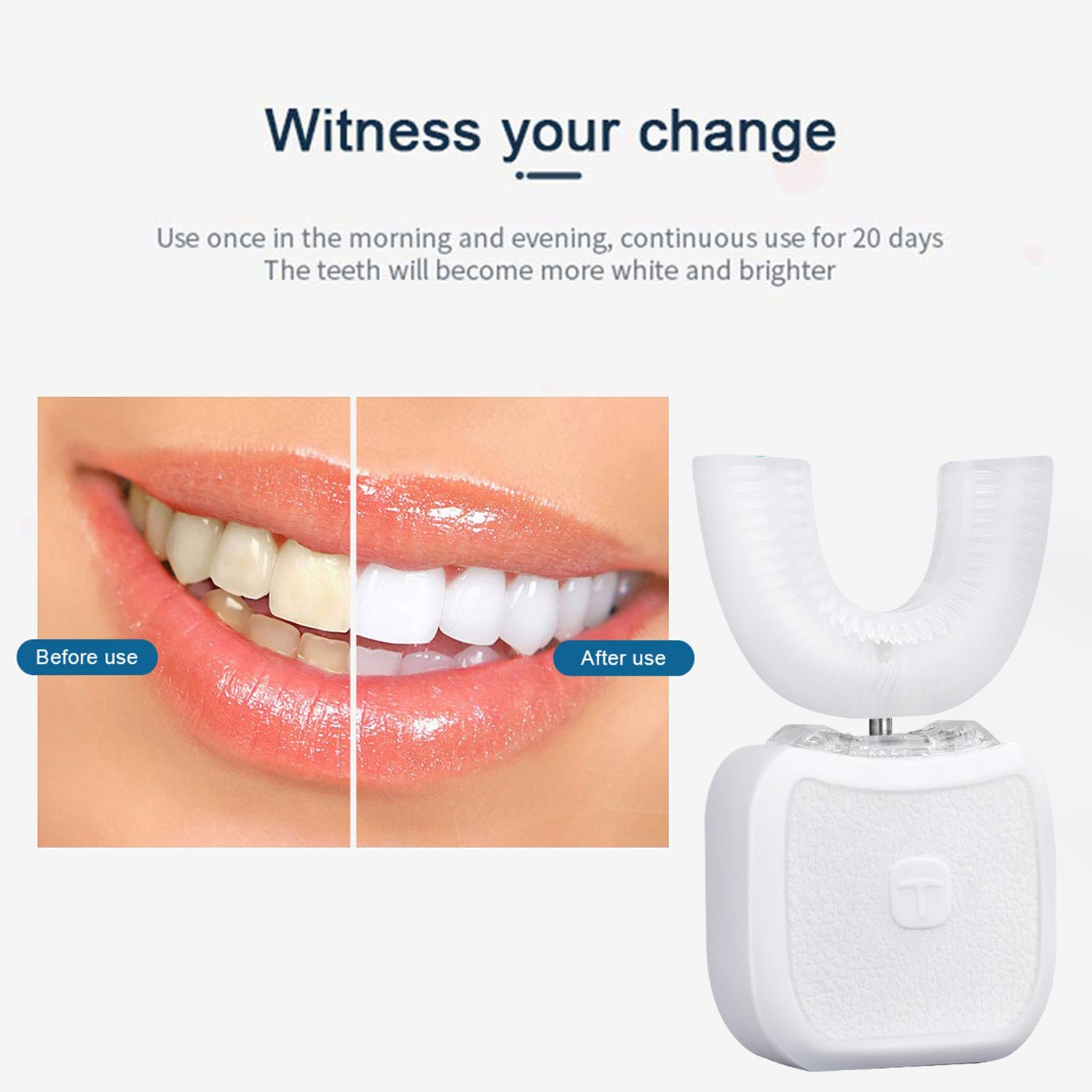 Automatic Sonic Electric Toothbrush USB Rechargeable 360 Degree Silicone Teeth Cleaner Blue Light Whitening Tooth