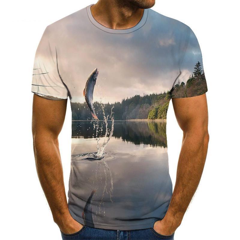 2020 nueva camiseta de pesca estilo casual Digital pescado 3D impresión camiseta hombres mujeres camiseta de verano de manga corta o-cuello Tops y camisetas
