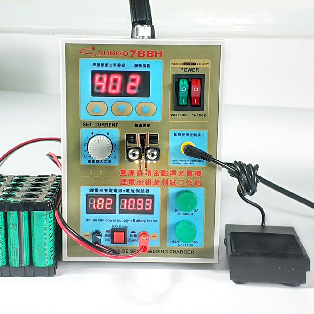 SUNKKO 788H Spot Welder 1.5KW Multifunction Pulse Spot Welding Machine 18650 Battery Packs Welding Lithium Battery Charging Test