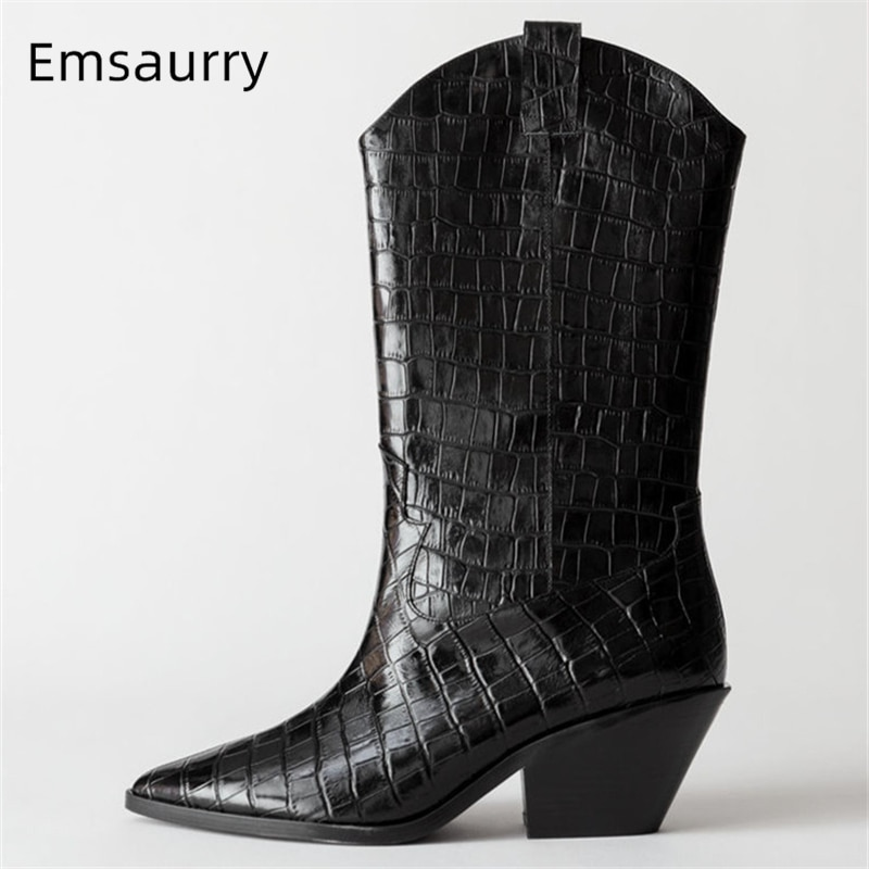 Couro de grão de pedra multicolorido meados de bezerro botas sexy ponto toe calcanhar quadrado retalhos deslizamento-no outono inverno botas femininas