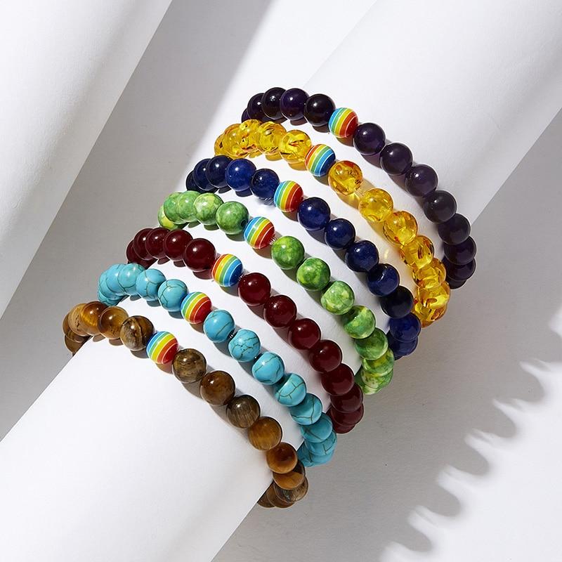 """Natural Elastic Dainty Bracelets Delicate Bracelets Beaded Bracelet Black Multicolor Rainbow Round 18cm(7 1/8"""") 1 Piece"""
