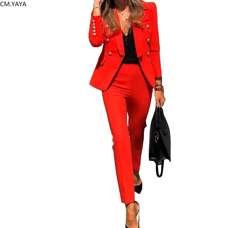 Conjunto de invierno 2020 para mujer, Blazers de manga larga entallados, pantalones de tubo, traje de oficina para mujer, conjunto de dos piezas, Chándales, trajes casuales GL806