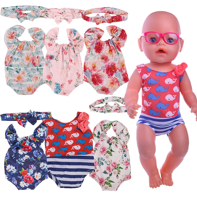 Doll Swimsuit=Clothes+Scarfs Fit 18 Inch American Doll 40-43cm Born Baby Accessories For Baby Birthday Festival Gift недорого