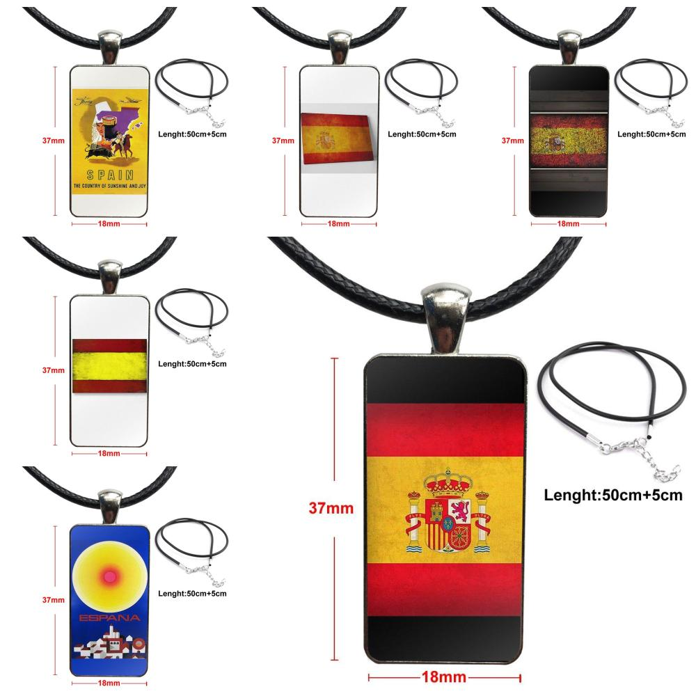 Moda cabujón colgante de vidrio collar con dije de rectángulo gargantilla collar joyería para mujer Vintage España bandera