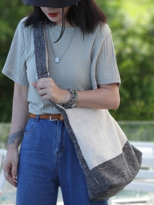 Simple cotton linen women bag Gray white stitching shoulder bags Tuote bags National messenger bag