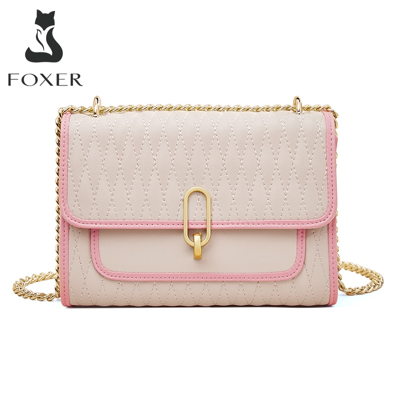 FOXER Brand Ladies Fashion Leather Small Square Bag Summer Wild Simple Messenger Bag Large Capacity Armpit Shoulder Bag Women