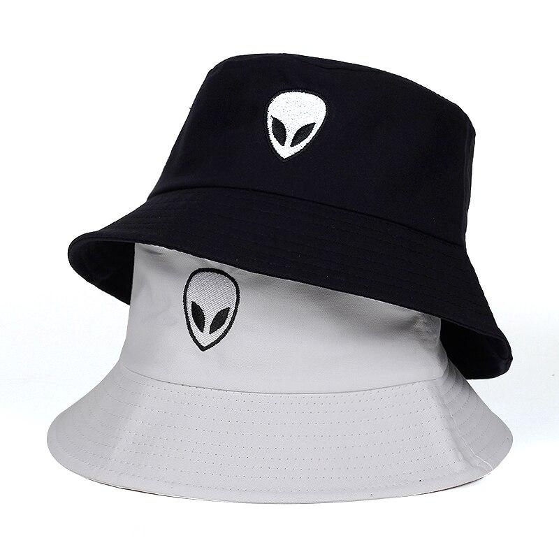 Черно-белая однотонная шляпа-ведро для инопланетян, унисекс, кепки в стиле хип-хоп Gorros для мужчин и женщин, летняя Панама, Пляжная Солнцезащи...