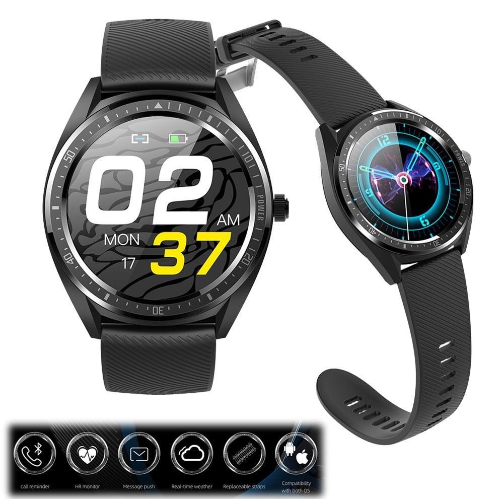 Reloj inteligente de pantalla redonda, Monitor de ritmo cardíaco, reloj de pulsera, mensajes, recordatorio de llamadas para iPhone Samsung A9 A8 A7 LG HTC