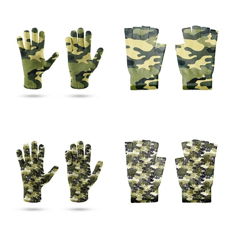 Перчатки на полпальца с камуфляжным принтом Мужские Женские Мужские перчатки для работы в саду и на открытом воздухе велосипедные перчатки...