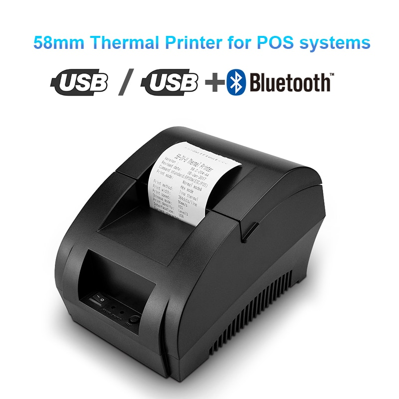 Zjiang Thermal Printer 58mm USB Bluetooth Thermal Receipt Printer 5890K Universal Bill Ticket Printer for POS System Supermarket cheap usb bluetooth serial pos58 thermal receipt bill ticket printer with cash box port support multiple languages
