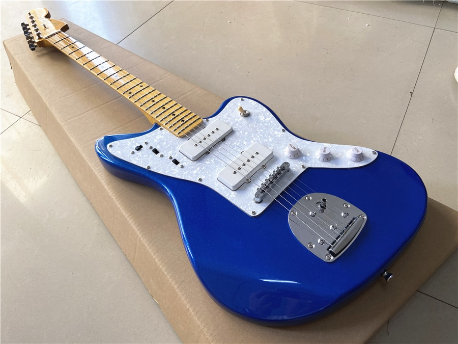 High quality custom metal blue vibrato bridge jazz guitar maple fingerboard can be customized