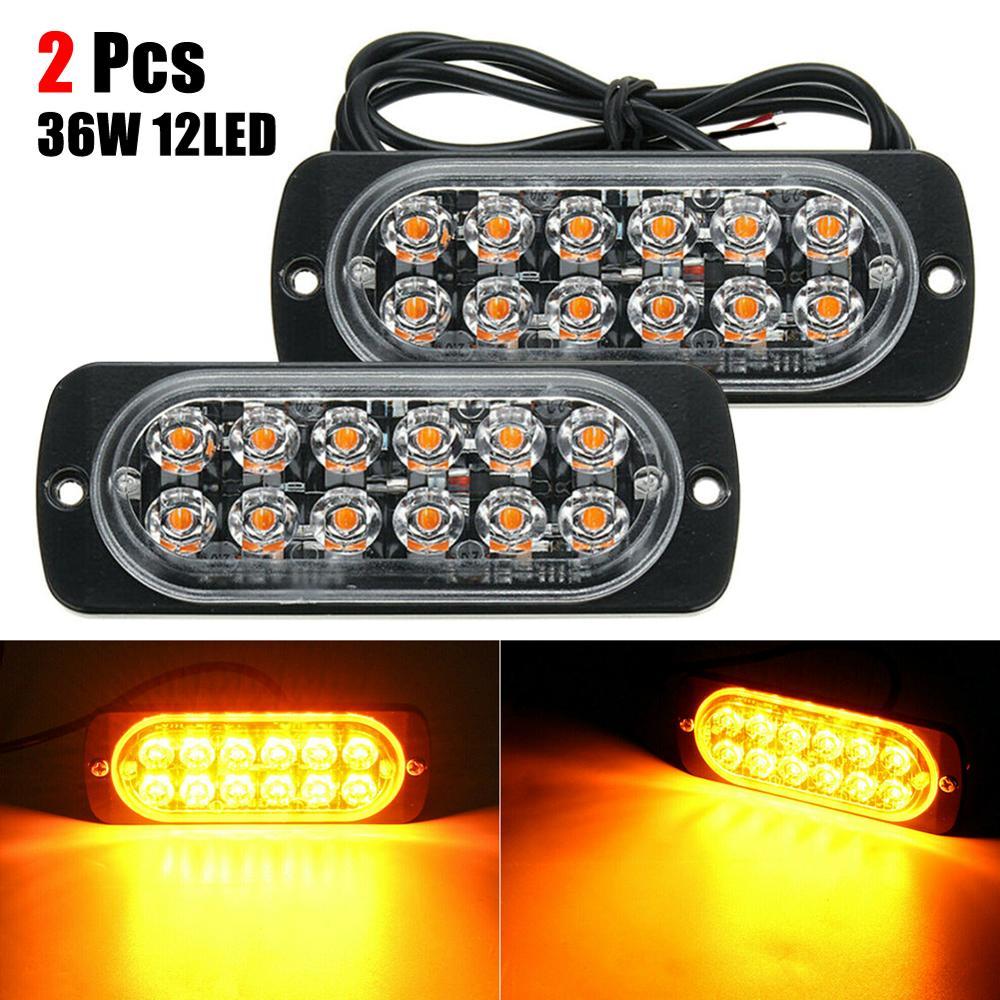 2 uds luces estroboscópicas de emergencia para camiones ámbar 12 LED 36W barra de luz coche camión Hazard Beacon lámpara de advertencia Chips LED barra de iluminación