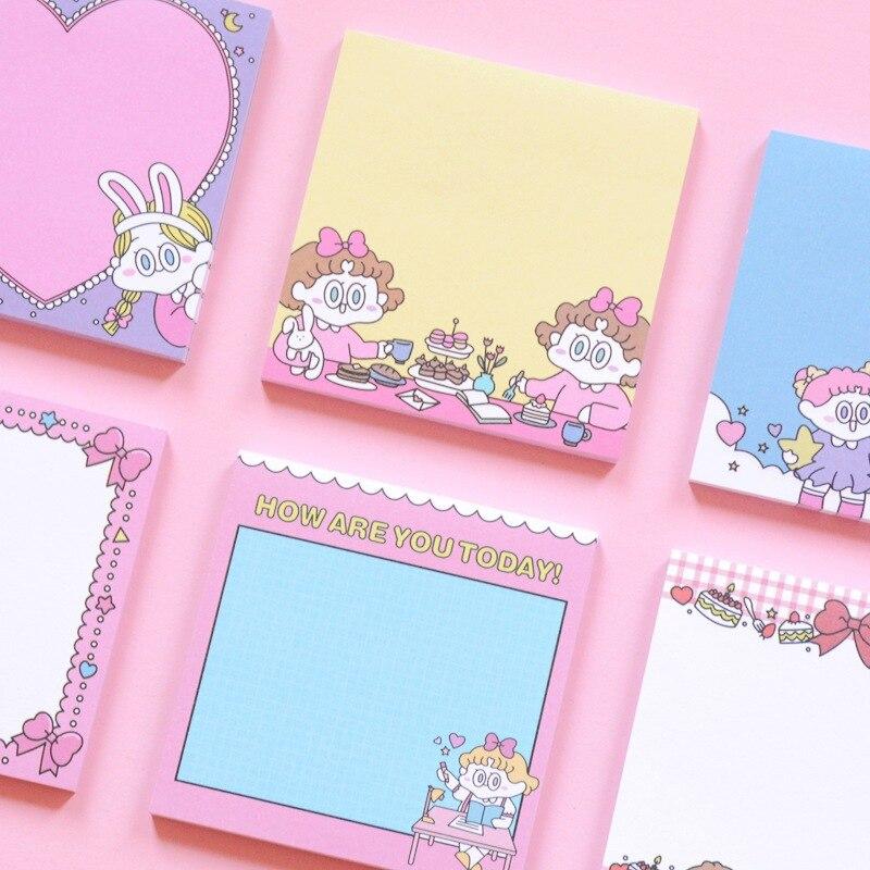 1 unidad Bloc de notas Ins chica linda de dibujos animados corazón mano nota portátil bolsillo palabra Bloc de notas mensaje