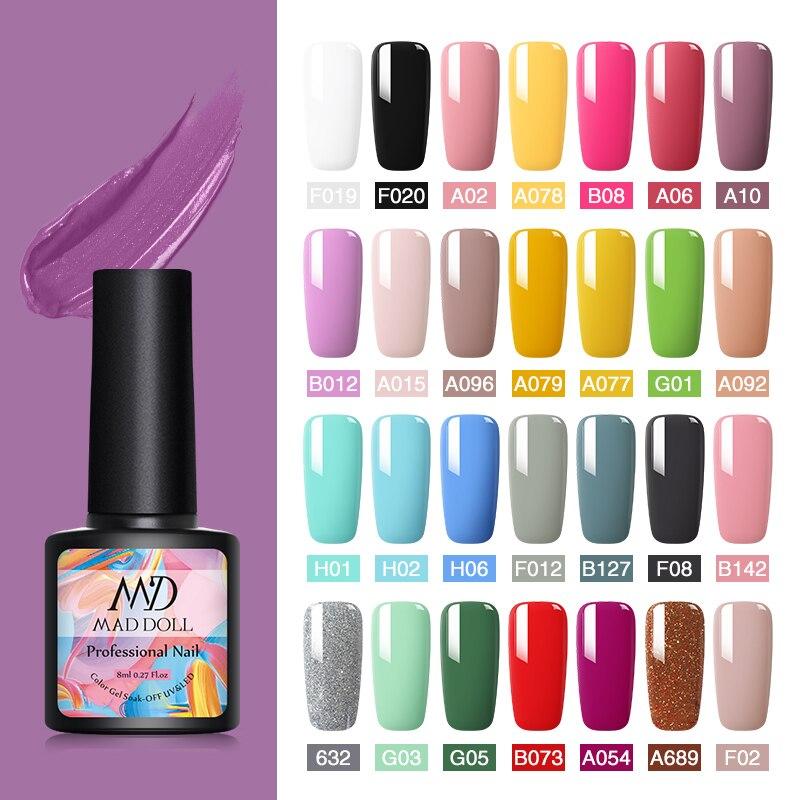 MAD DOLL 8 мл Гель-лак для ногтей цветная серия УФ-гель отмачиваемый Гель-лак Перманентный верхний цветной дизайн ногтей DIY