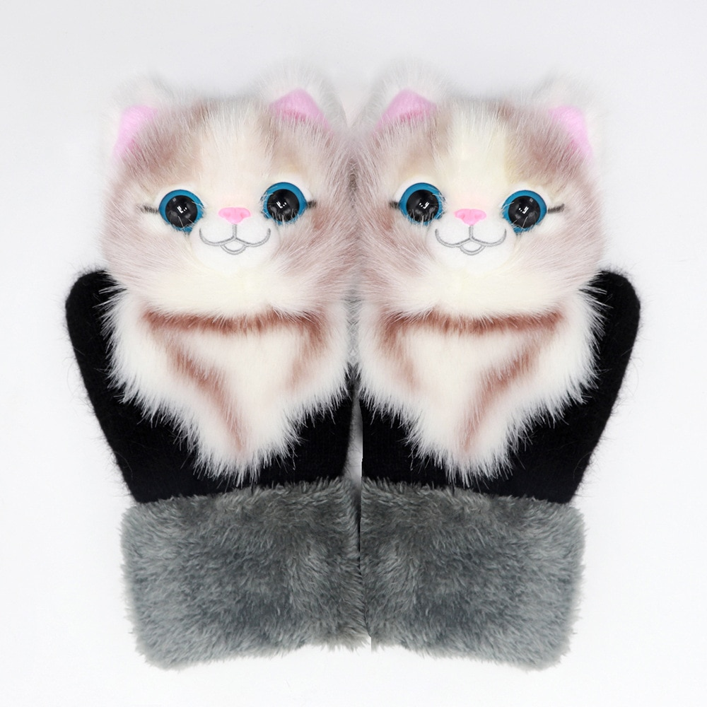 22cm Adorable Girls Winter Gloves Featured Animals Cat Dog Panda Design Warm Outdoor Mittens Costume Accessory Cute Adult Gloves