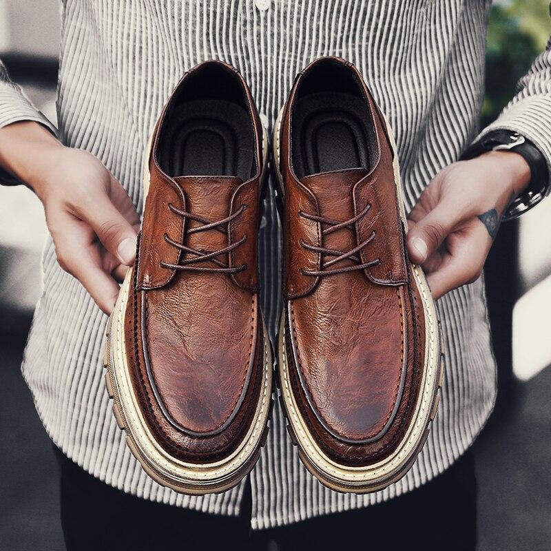 Retro Men Shoes Split Leather Casual Shoes Handmade Lace-up Men Loafers Comfort Walking Shoes Men Flats Moccasins Shoes