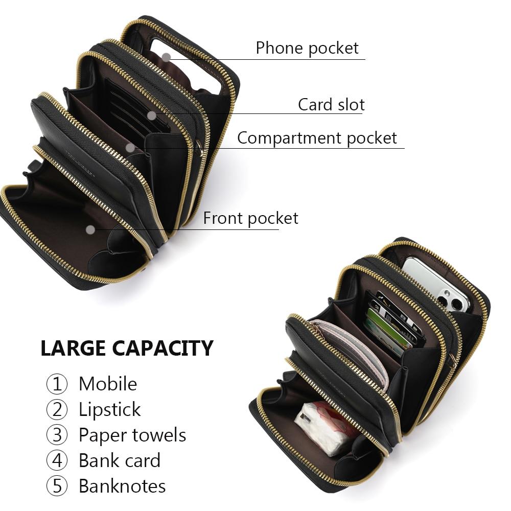 Drop Shipping Crossbody Cellphone Purse Women Touch Screen Bag RFID Blocking Wallet Shoulder Handbag