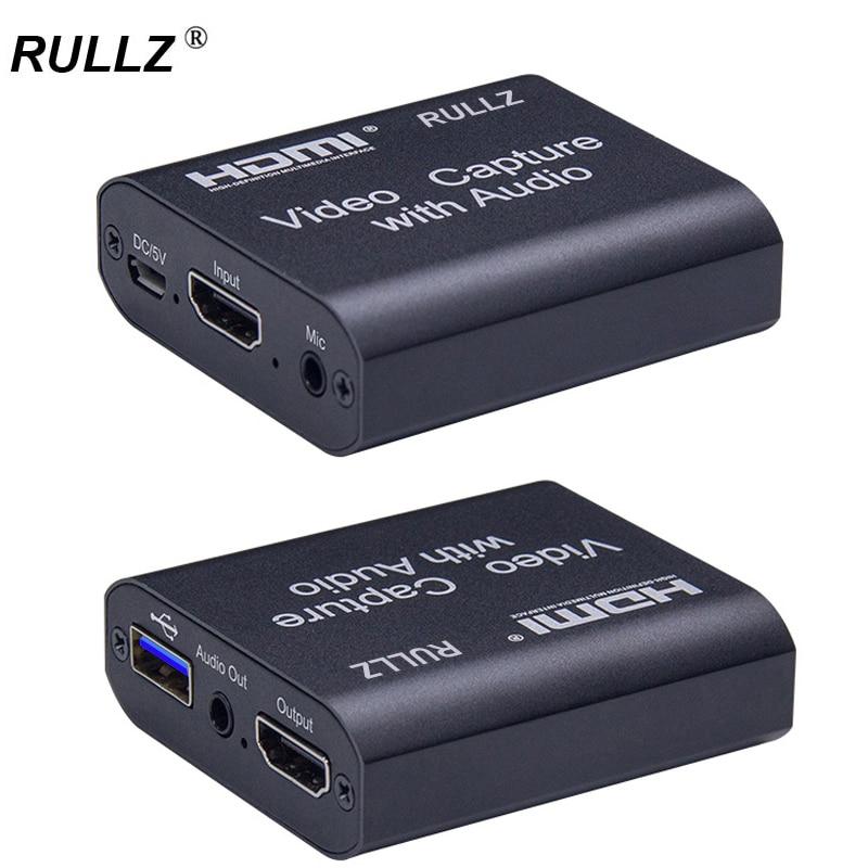 Rullz 4K 1080P HDMI Zu USB 2,0 3,0 Video Capture Card Schleife Audio Out Mic IN Spiel Aufnahme box PC Live-Streaming Broadcast Platte