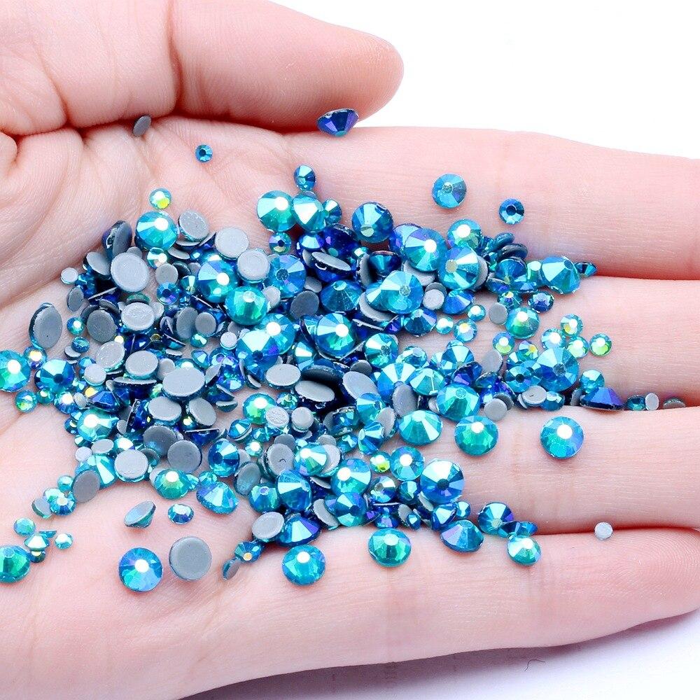 Ss6, ss10,ss16,ss20,ss30 circón azul AB cristales de cristal Hot Fix Rhinestones,DMC espalda plana de hierro en diamantes de imitación para la ropa