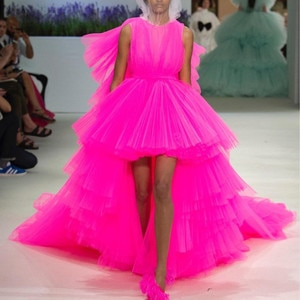 Fashion Fuchsia Color High Low Tutu Prom Gowns 2021 Puffy Ruffles Tiered Long Prom Dresses Plus Size Party Dress Robe De Soiree