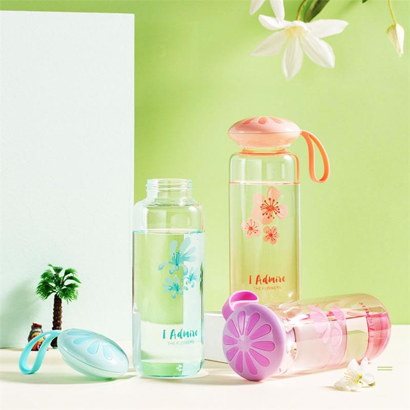 350mL patrón de flor de vidrio botella de agua portátil breve a prueba de fugas hervidor de agua vaso deporte viaje proteína coctelera