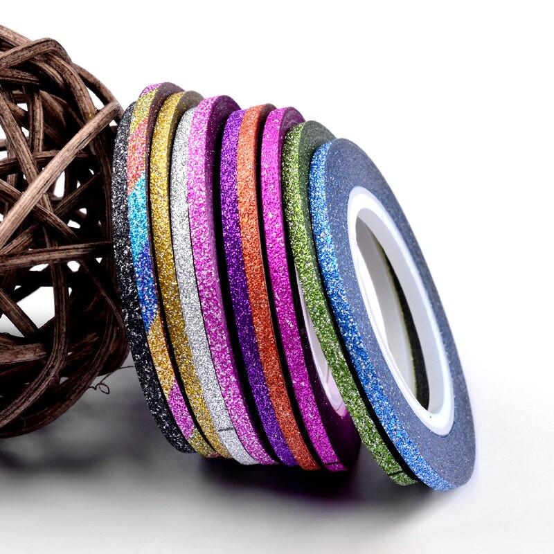 1mm 12mm brillo de Color de uñas rayas línea cinta etiqueta engomada de arte decoraciones consejos diy para esmalte de uñas en gel de sobresalen por NR-142