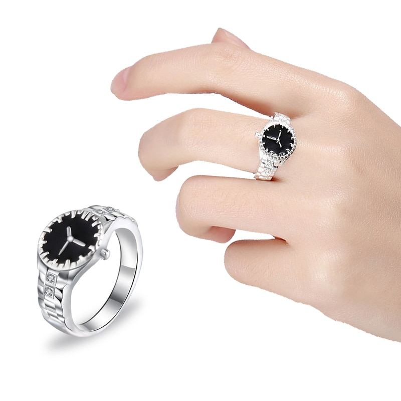 Fashion Creative Watch Ring Punk Elastic Quartz Finger Ring Silver Color Classic Ring Women Hip-hop