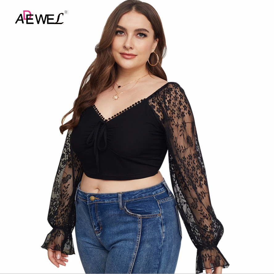 ADEWEL Plus Size Womens 2021 New Women Mesh Sheer Blouse Floral Lace See-through Long Sleeve Top Shirt Sexy V-neck Female Blusas plus guipure lace insert semi sheer blouse
